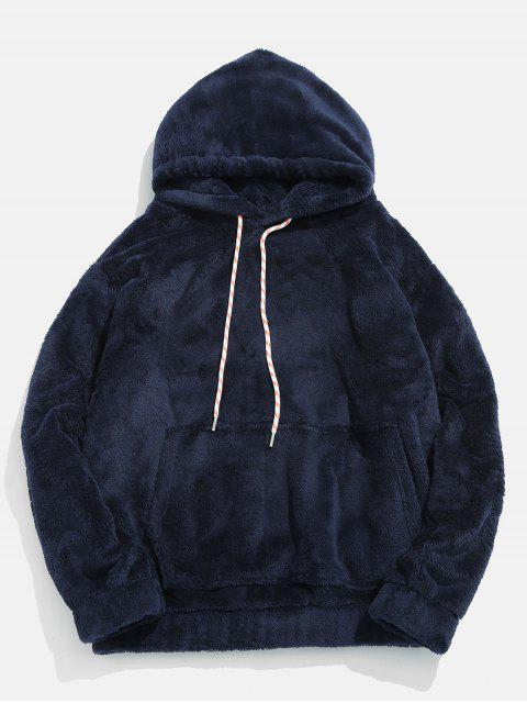 Solide Pouch Pocket Fluffy Hoodie - Marmor Blau S Mobile