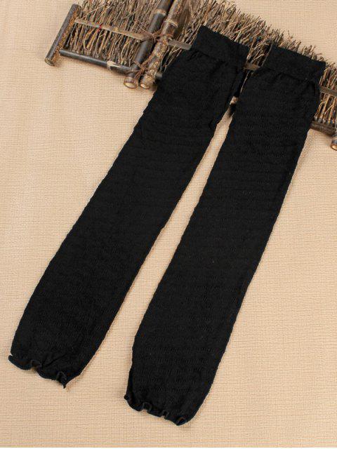 womens Solid Color Stripe Leg Warmers - BLACK  Mobile