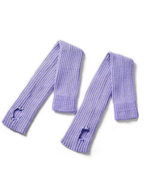 womens Winter Striped Knitted Leg Warmers - PURPLE MIMOSA  Mobile