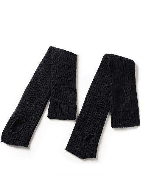 fancy Winter Striped Knitted Leg Warmers - BLACK  Mobile
