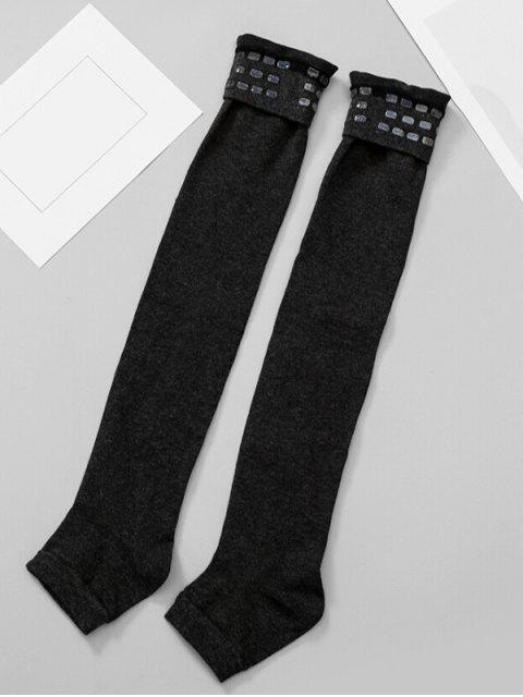 shops Solid Color Winter Leg Warmers - BLACK  Mobile