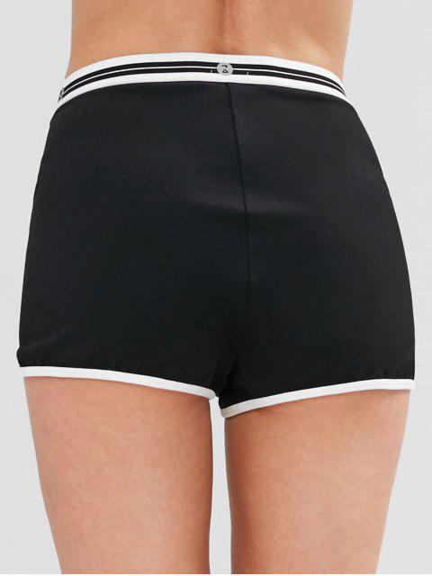 online ZAFUL Striped Contrast Piping Sports Shorts - BLACK L Mobile