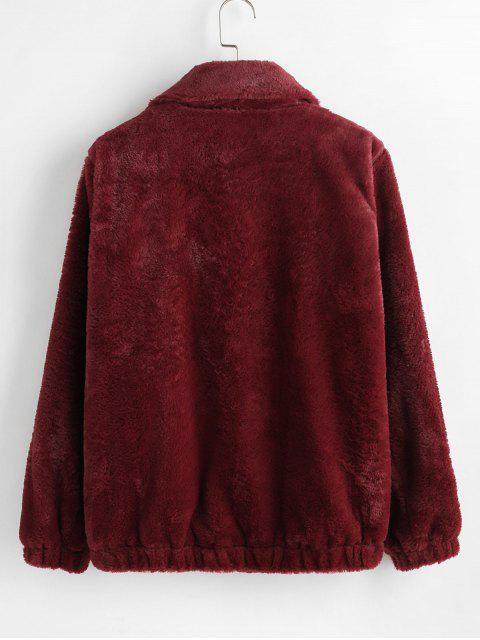 outfits ZAFUL Faux Fur Winter Coat - RED WINE XL Mobile