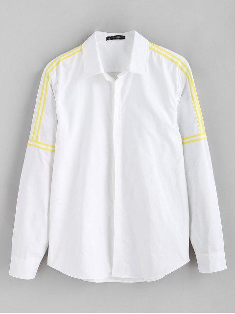 ZAFUL Chemise Embellie de Ruban en Couleur Unie - Blanc M Mobile