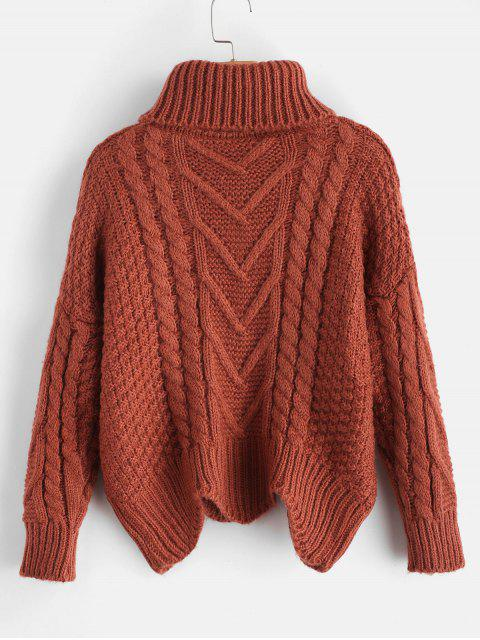 buy Chunky Knit Turtleneck Sweater - CHESTNUT RED ONE SIZE Mobile