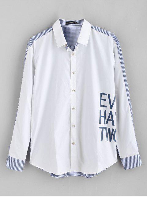 ZAFUL Letter Printed Gestreiftes gespleißtes Hemd - Weiß S Mobile