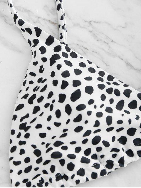 fashion ZAFUL Printed Tie String Bikini Set - WHITE M Mobile