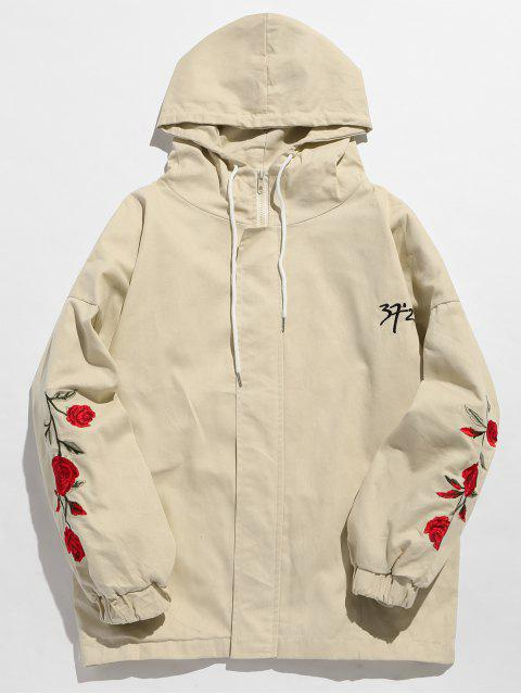 womens Zip Fly Flower Embroidery Hooded Jacket - WARM WHITE L Mobile