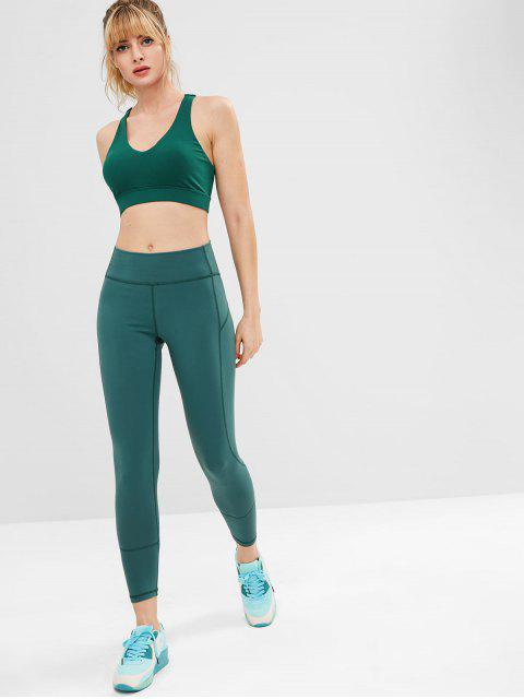 ZAFUL Lace Up Racerback Sport-BH - Dunkelgrün S Mobile