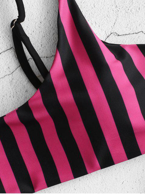 outfit ZAFUL Thong Striped Bikini Set - DEEP PINK S Mobile