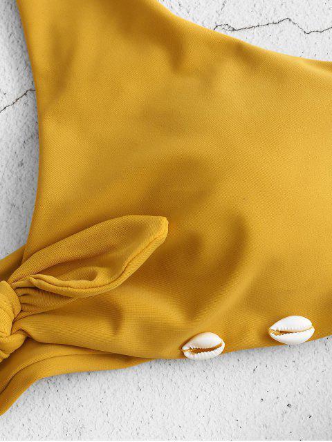 women's ZAFUL Braided Seashell Knot Bikini Set - GOLDEN BROWN L Mobile
