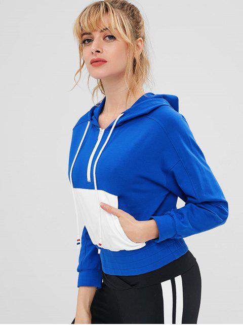 Sudadera con capucha y media cremallera con bolsillo y manga raglán - Azul L Mobile