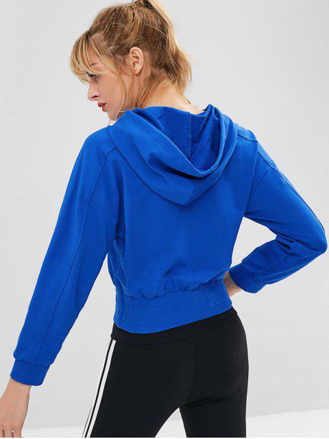 Sudadera con capucha y media cremallera con bolsillo y manga raglán - Azul S Mobile