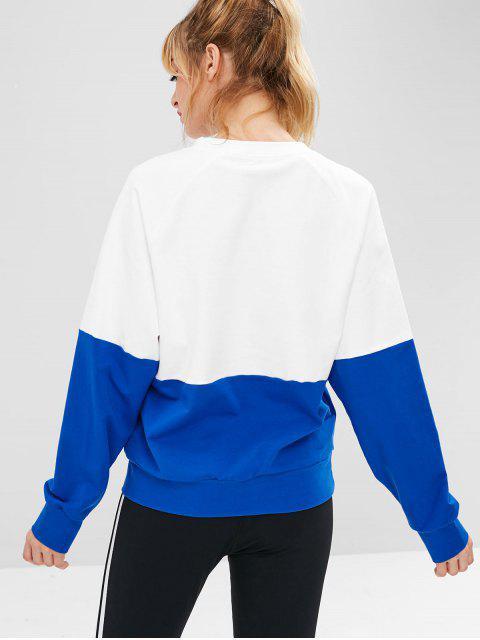 latest ZAFUL Raglan Sleeve Color Block Sweatshirt - WHITE L Mobile