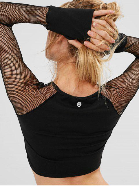 outfits ZAFUL Fishnet Raglan Sleeve Crop T-shirt - BLACK L Mobile