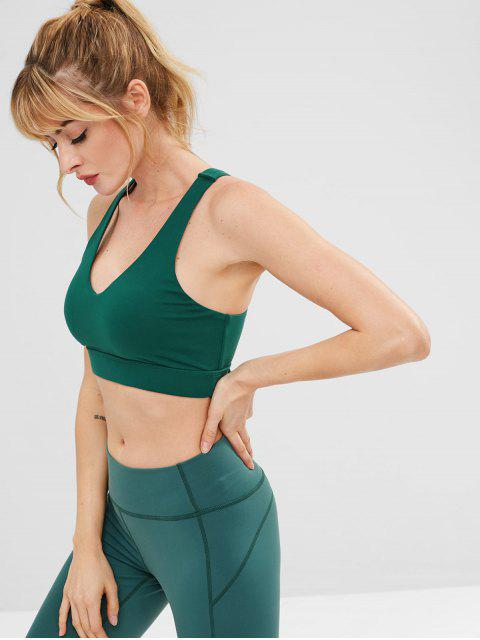 new ZAFUL Lace Up Racerback Sports Bra - DARK GREEN L Mobile