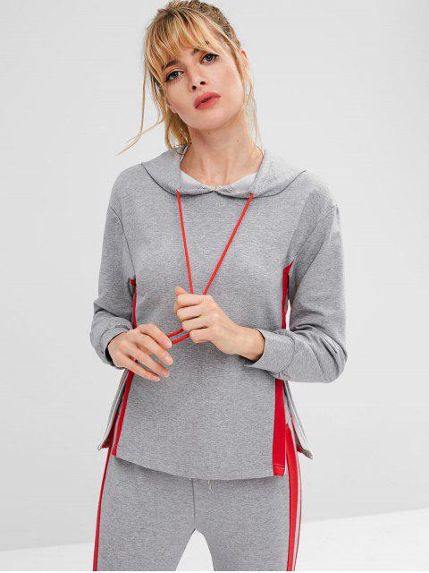 womens ZAFUL Striped Side Heather Drawstring Hoodie - DARK GRAY M Mobile