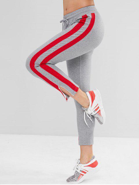ZAFUL Striped Side Slit Pants - Gris Oscuro L Mobile