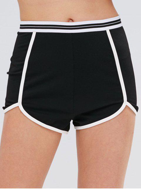 Shorts deportivos con ribetes en contraste de rayas ZAFUL - Negro L Mobile