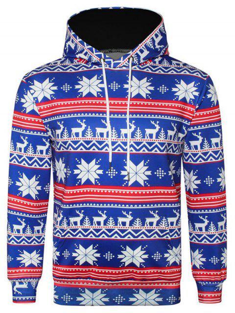 Allover Snowflake Print Big Pocket Hoodie - Ozeanblau L Mobile