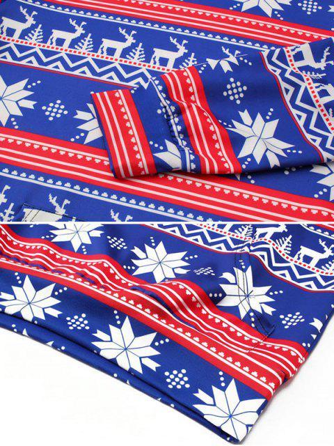 Allover Snowflake Print Großer Taschen-Hoodie - Ozeanblau M Mobile