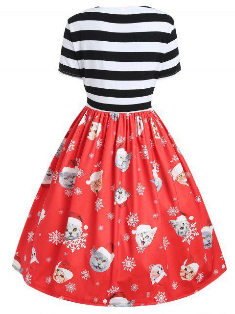 Plus Size Cat Pattern Christmas Dress - 紅 2X Mobile