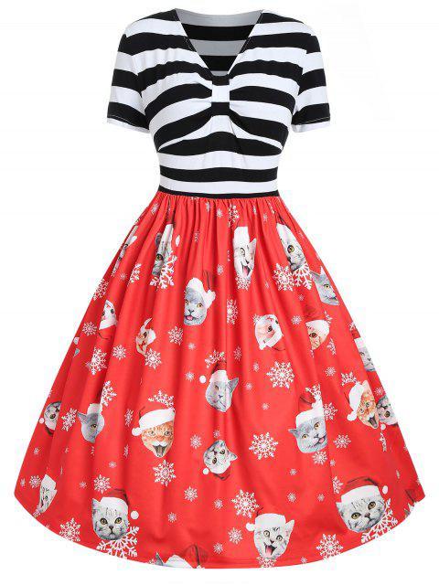 Plus Size Cat Pattern Christmas Dress - 紅 1X Mobile