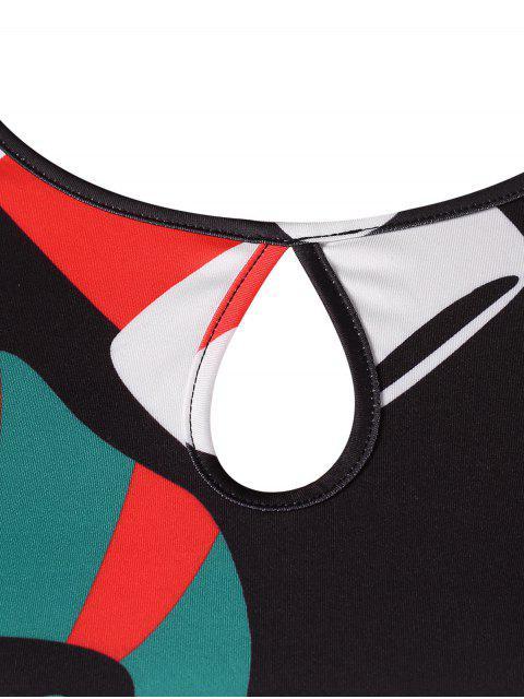 Tallas grandes de Navidad imprimir un vestido de línea - Negro L Mobile