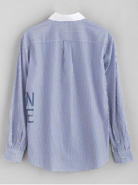 ladies ZAFUL Letter Printed Striped Spliced Shirt - WHITE XL Mobile