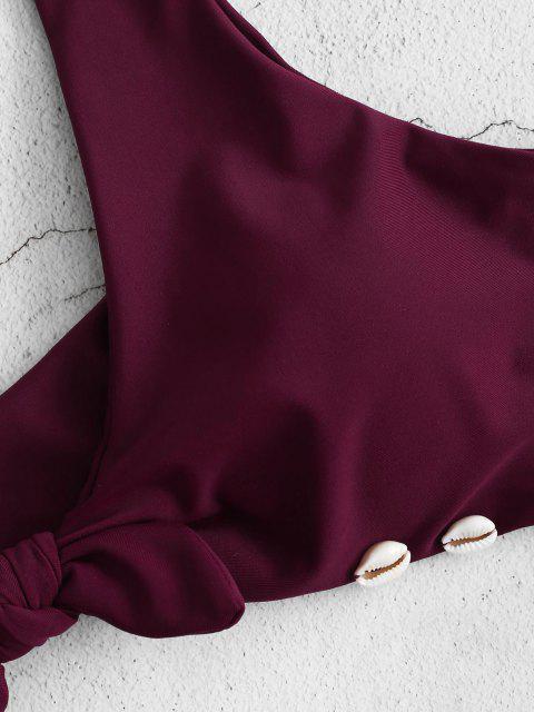 lady ZAFUL Braided Seashell Knot Bikini Set - PLUM VELVET S Mobile