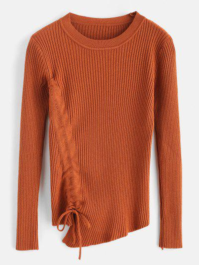 Ribbed Cinched Fitted Sweater - Light Brown