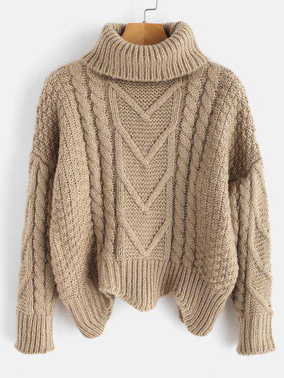 Chunky Knit Turtleneck Sweater - Light Khaki