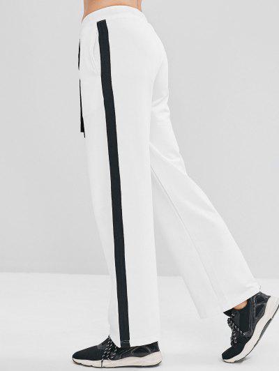 ZAFUL Contrast Drawstring Athletic Sweatpants - White S