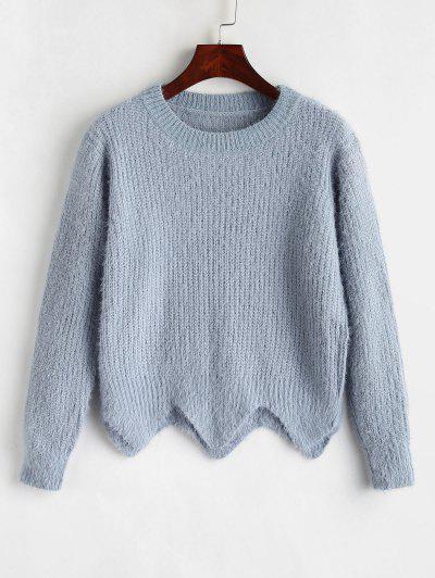 5c1e0e4e34 Fuzzy Textured Asymmetric Sweater - Light Blue ...