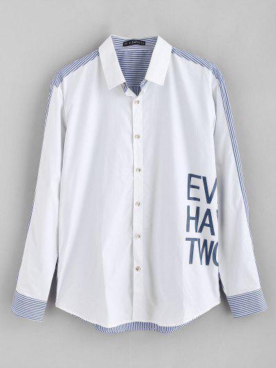 ZAFUL Letter Printed Striped Spliced Shirt - White 2xl