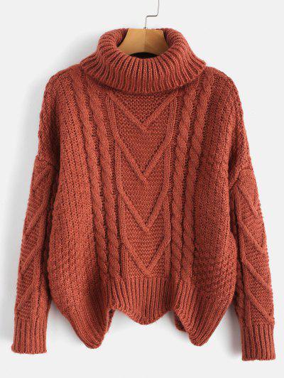Chunky Knit Turtleneck Sweater - Chestnut Red