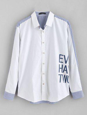 ZAFUL Letter Printed Gestreiftes gespleißtes Hemd