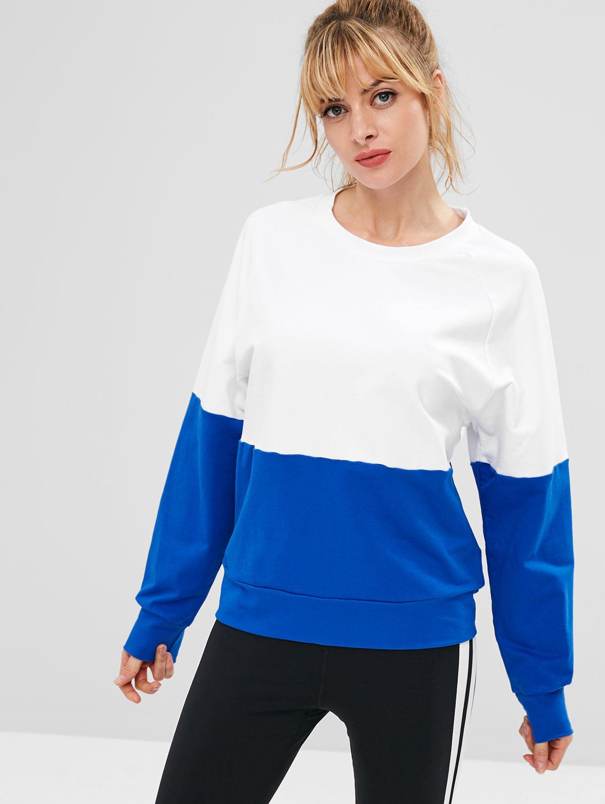 ZAFUL Raglan Sleeve Color Block Sweatshirt