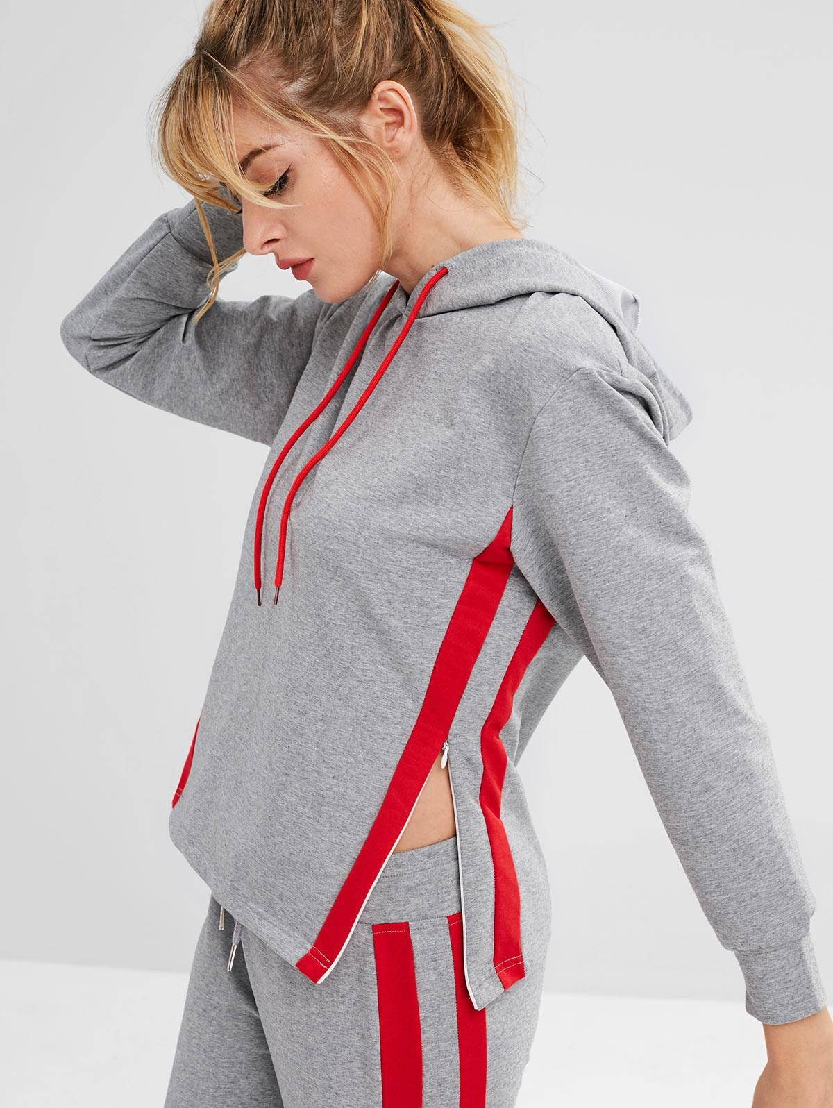 ZAFUL Striped Side Heather Drawstring Hoodie