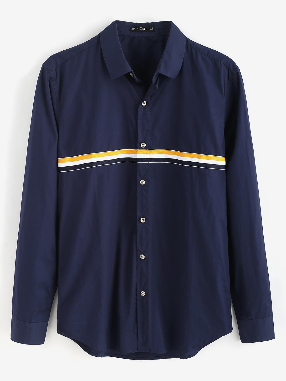 ZAFUL Button Fly Long Sleeves Striped Shirt, Midnight blue