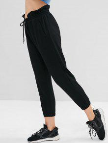 ZAFUL Ruffle High Waisted Jogger Pants - أسود S