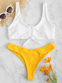 ZAFUL Snap-button Knot Tank Bikini Set - أصفر فاقع M