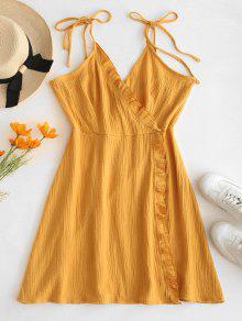 ZAFUL الكشكشة كامي فستان سوربليسي - بني ذهبي S