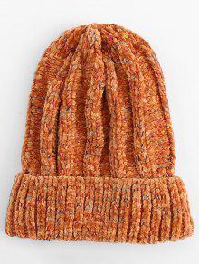شتاء Colormix التشفيه محبوك قبعة التزلج - البرتقالي