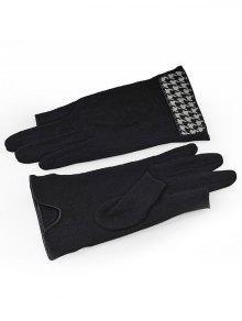 قفازات الشتاء Houndstooth ثخن دافئ - أسود