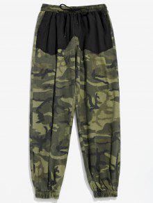 سروال Camo جيوب المرقعة عداء ببطء - أسود 4xl
