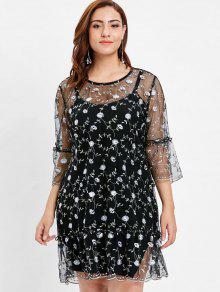 زهور مطرزة شبكة بالاضافة الى حجم اللباس - أسود 3x