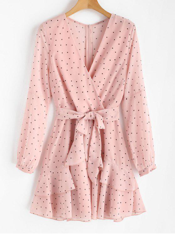 outfits Ruffle Polka Dot Surplice Dress - LIGHT PINK L