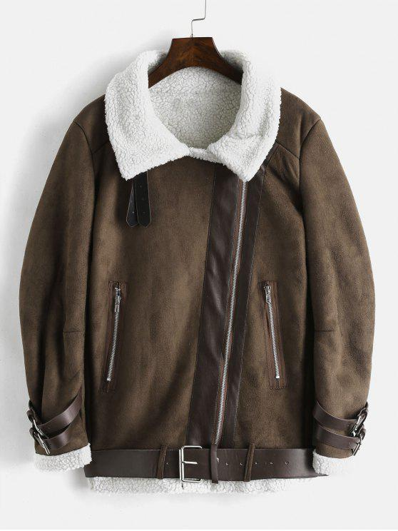 fashion Faux Suede Belted Fluffy Lined Coat - DEEP BROWN M