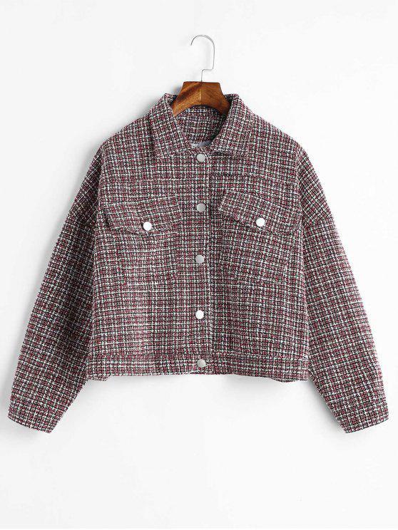 new Tweed Drop Shoulder Pocket Jacket - MULTI ONE SIZE